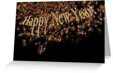 Happy New Year 2014 Gold Fireworks  by Marianne Campolongo