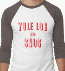Yule Log and Snog -Red Men's Baseball ¾ T-Shirt