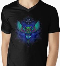 Sacred Geometry Owl Mens V-Neck T-Shirt