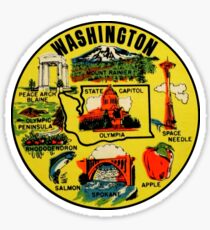 Washington State Landmarks Vintage Travel Decal Sticker