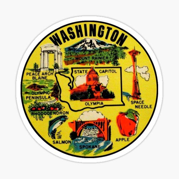 Washington State Landmarks Vintage Travel Decal Sticker