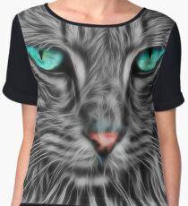 Grey Fur Blue Eyed Cat Drawing Women's Chiffon Top