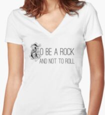 To Be A Rock And Not To Roll - Stairway To Heaven - Zeppelin Women's Fitted V-Neck T-Shirt