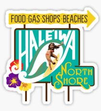 Haleiwa, North Shore, Oahu, Road Sign, Hawaii Sticker