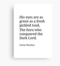 Ginny Weasley Poem Canvas Print