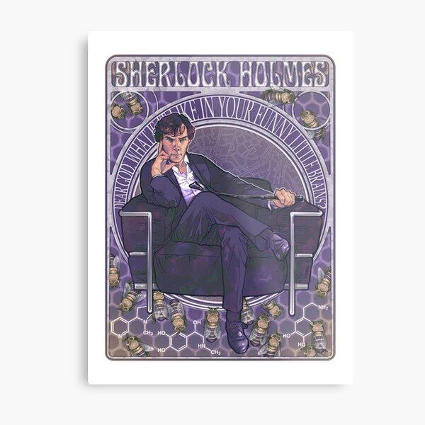 Sherlock Art Nouveau Metal Print