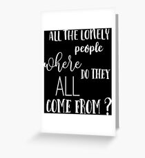 Eleanor Rigby - The Beatles - Vintage Typography Lyrics Greeting Card