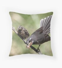 "Grey Fantail and chick ~ ""Lunch Has Arrived""  Throw Pillow"
