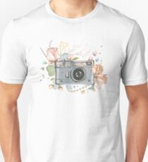 Camera and Flowers Unisex T-Shirt