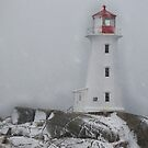 Peggy's point lighthouse Snow Storm by Roxane Bay