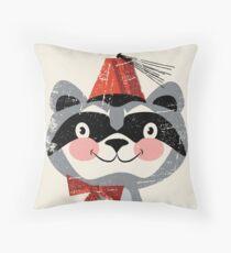 Red fez Raccoon Throw Pillow