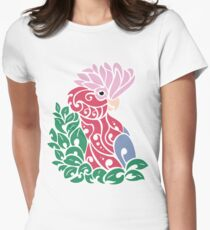 Galah cockatoo tribal tattoo pink rose-breasted parrot Womens Fitted T-Shirt