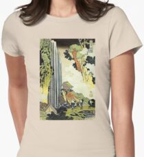 'Waterfall' by Katsushika Hokusai (Reproduction) Womens Fitted T-Shirt