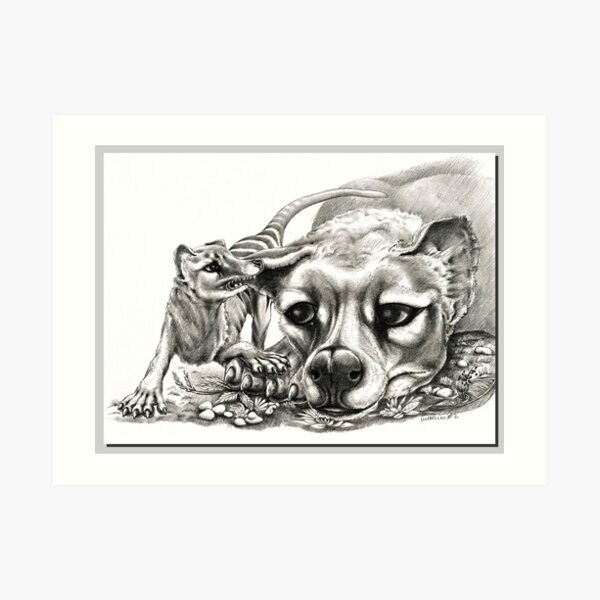 ICON ~ D1G1TAL-M00DZ ~ Thylacine Mother and Young 2 by tasmanianartist Art Print