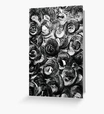 Circular motion blur art in black and white Greeting Card
