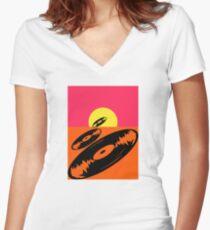 Pop Art Vinyl Record Endless Women's Fitted V-Neck T-Shirt
