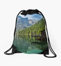 Relax in the nature - Lake Braies Italy Drawstring Bag