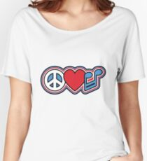 PEACE LOVE MUSIC Symbols Women's Relaxed Fit T-Shirt