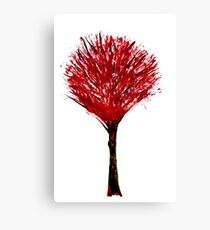 Summer tree in red bloom isolated on white background Canvas Print