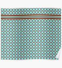 Teal and Chocolate Brown Quatrefoil Pattern Poster