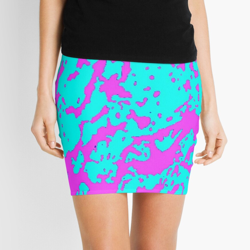 Pink and Teal Reflection Mini Skirt