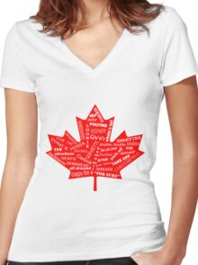 Canada Flag - Canadian Slang - Eh! Women's Fitted V-Neck T-Shirt