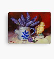 Chicken And Lavender Still Life Canvas Print