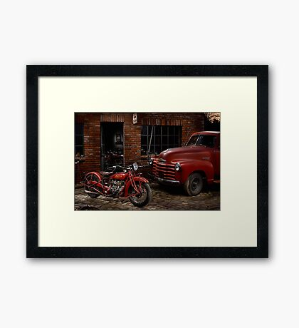 Indian 101 Scout and Chevy truck at a garage Framed Print