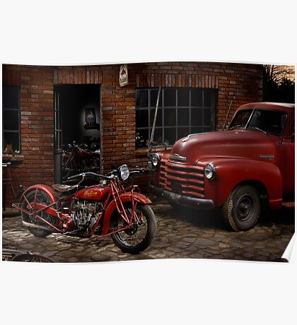 Indian 101 Scout and Chevy truck at a garage Poster