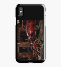 Indian 101 Scout and Chevy truck at a garage iPhone Case/Skin