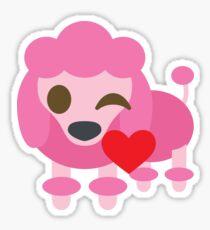 Pink Poodle Dog Emoji Flirting and Blowing Kiss Sticker