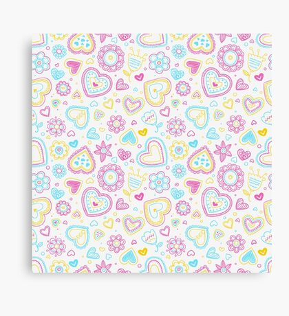Cute Heart & Flowers Pattern Canvas Print