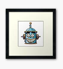 emoticon happy emoji robot head smiley emotion Framed Print