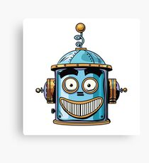emoticon happy emoji robot head smiley emotion Canvas Print