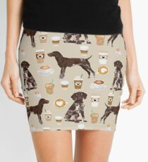 German Shorthair Pointer dog breed gifts custom pet portrait by pet friendly coffee lover Mini Skirt