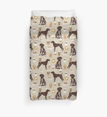 German Shorthair Pointer dog breed gifts custom pet portrait by pet friendly coffee lover Duvet Cover