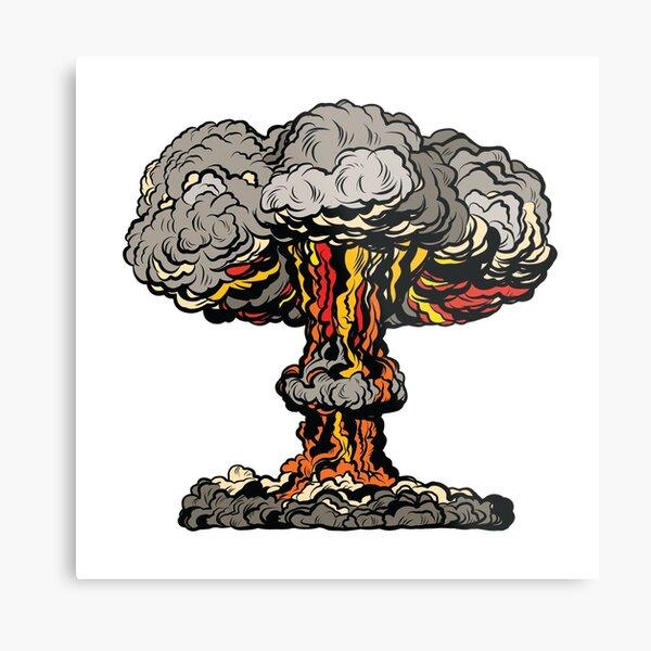 Nuclear explosion radioactive mushroom pop art Metal Print