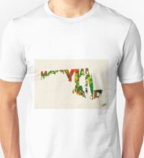 Maryland Typographic Watercolor Map T-Shirt