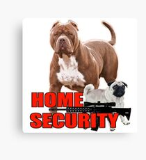 Pit bull pug home security  Canvas Print