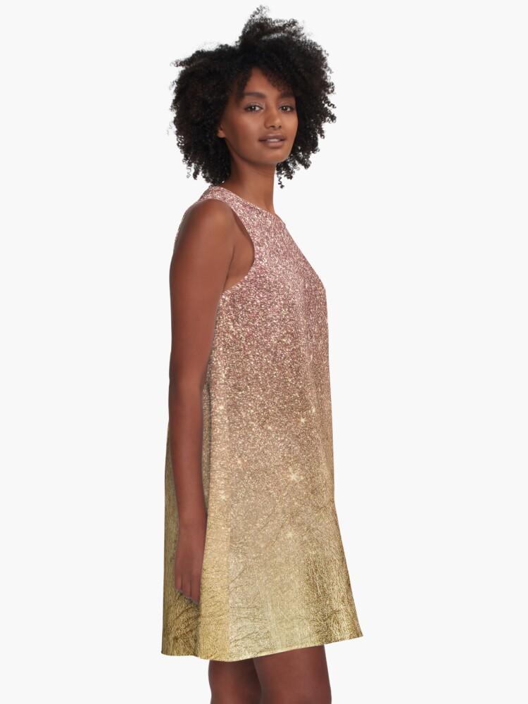 Glitter Foil in Gold with Mesh Halter Mini Dress