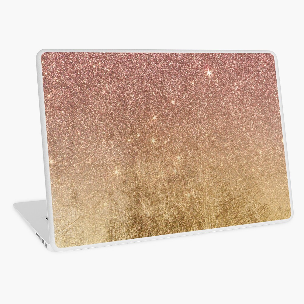 Pink Rose Gold Glitter and Gold Foil Mesh Laptop Skin