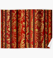 Red Curtain Call; Abstract Digital Vector Art Poster