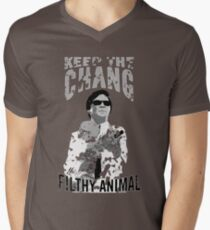 Keep The Chang You Filthy Animal (Black & White) Men's V-Neck T-Shirt