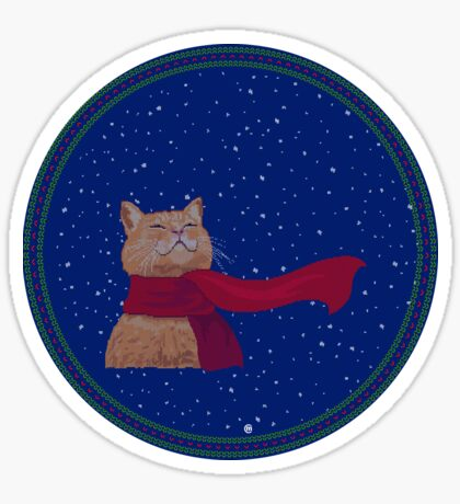 Tabby loves Snow (Knitted-version) Sticker