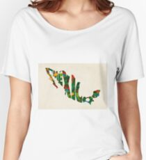 Mexico Typographic Watercolor Map Women's Relaxed Fit T-Shirt