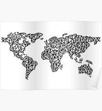 Weltkarte weiß Poster