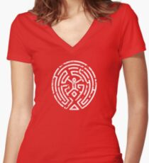 Westworld Maze Distressed Women's Fitted V-Neck T-Shirt