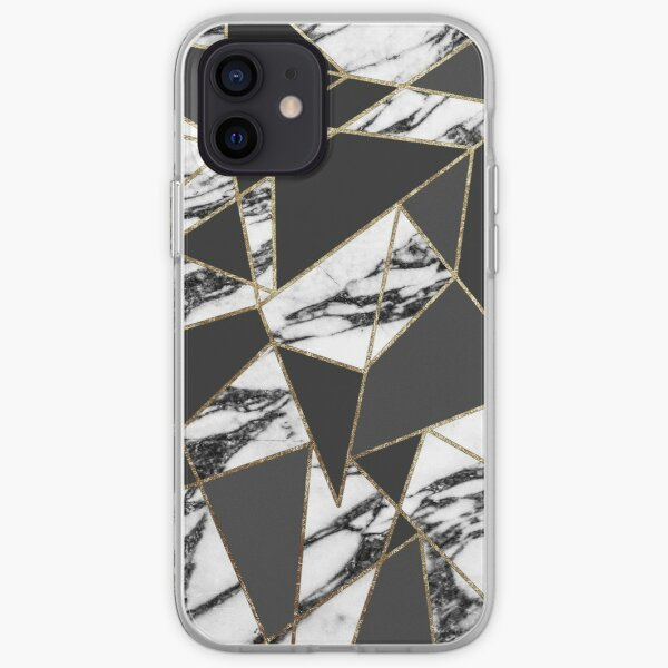Chic Modern Gold Marble and Black Geometric iPhone Soft Case