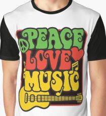 Rasta Peace, Love, Music Graphic T-Shirt