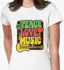 Rasta Peace, Love, Music Womens Fitted T-Shirt